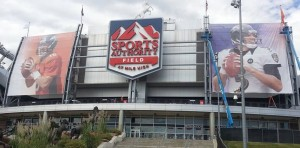 The Joe Flacco banner at Sports Authority Field at Mile High is drawing the ire of Broncos fans. (Sports Authority Field photo)