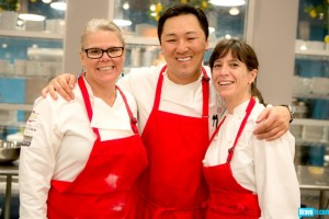 "Jennifer Jasinski with fellow ""Top Chef Masters"" chefs Sang Yoon and Odette Fada. (Bravo TV photo)"