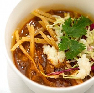 Jasinski's two winning dshes in the elimination challenge of Bravo network's 'Top Chef Masters.' Above:  Guajillo-Chile-Posole-with-Shaved-Cabbage-Lime-Cilantro-and-Queso-Fresco-