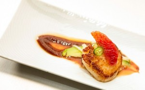 Jennifer Jasinski's winning dish -- Scallop-with-Ketchup-Sauce-Fermented-Black-Beans-Avocados-and-Blood-Orange -- in the Quickfire challenge of Wednesday's episode of 'Top Chef Masters.'