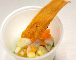 Shrimp, Bass, and Scallop Ceviche with Papaya, Mango, Pineapple, and Plaintain Crisp _jennifer