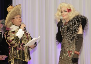Denver Center  CEO Daniel Ritchie (with emcee Kirk Montgomery of 9News) dresses in drag as part of Theatre Threads. (Photos by Vicki Little)