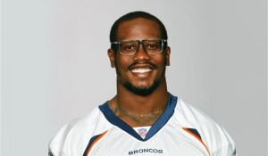 Von Miller's trademark glasses drew him to his charity, Von's Vision. (Denver Broncos photo)