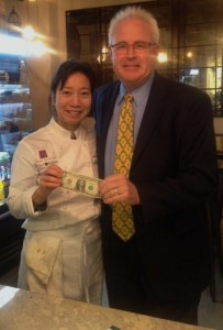 Mary Nguyen, owner and chef of Olive & Finch, with her first customer, Tim Jackson.