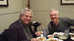 Itzhak Perlman enjoying lunch with BJ Dyer, right, at Seoul BBQ in Aurora. (BJ Dyer Facebook photo)