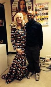Sabol with dress designer Kingsley Nti