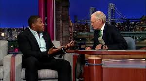 "Former New York Giants defensive lineman and current TV host/analyst Michael Strahan, left, and David Letterman talked football and, specifically, Broncos quarterback Peyton Manning on 'The Late Show With David Letterman"" earlier this week. (Late Show/CBS photo)"