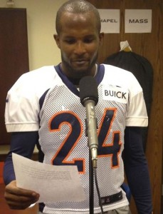 Champ Bailey records his message that train riders hear at Denver International Airport. (DIA Facebook page photo)