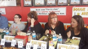 Our own columnist, Penny Parker, second from right, was among the judges Saturday for the grilled cheese tasting at Steve's Snapping Dogs. (Facebook photo)