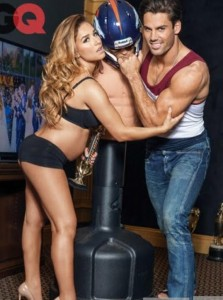 Jessie and Eric Decker pose for CQ photographers for a magazine layout. (Jessie James Twitter photo)