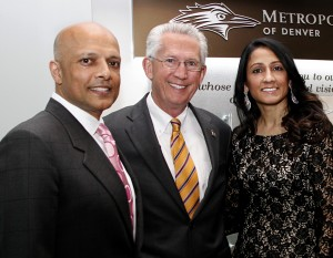 Stonebridge Companies CEO Navin Dimond, Metro State president Dr. Stephen M. Jordan and Rita Dimond. Below, Colorado Gov. John Hickenlooper  also posed for the fete. (Metro State University of Denver photos)