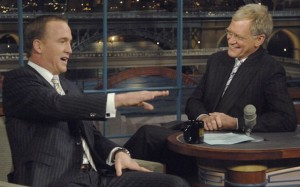 Peyton Manning got plenty of laughs and told several stories on David Letterman's 'The Late Show' Monday night on CBS. (CBS/The Late Show photo)