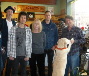 Rockmount Ranchwear owner Steve Weil, right, with members of the band, The Pretenders.