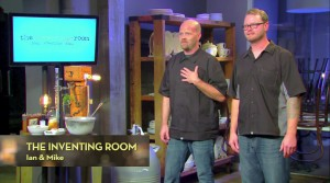 Ian Kleinman, left, and Mike Coberlain pitch the Inventing Room to the judges. (CNBC photo)